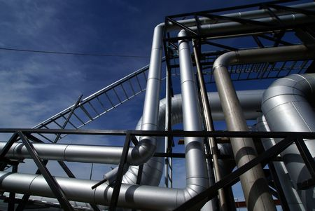 heavy fuel: Pipes, bolts, valves against blue sky