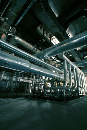 different size and shaped pipes at a power plant                  photo