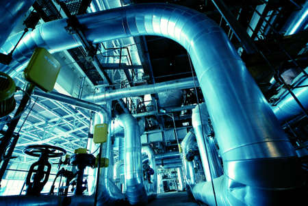 water treatment: Equipment, cables and piping as found inside of a modern industrial power plant                Stock Photo