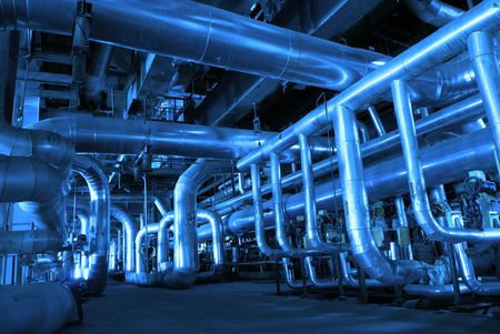 streamlined: Pipes inside energy plant