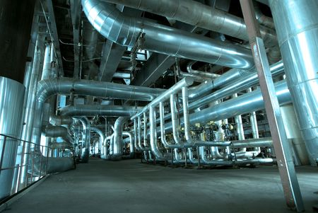 Pipes, tubes, machinery and steam turbine at a power plant Stock Photo - 5819783