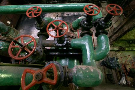 Pipes, tubes, valves at a power plant photo