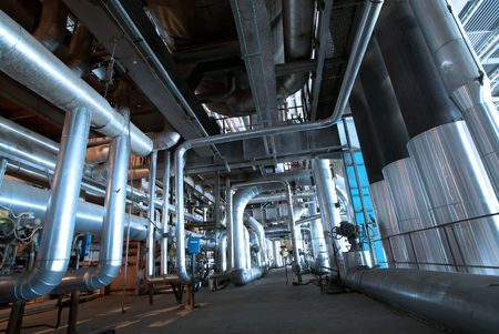 Pipes, tubes, machinery and steam turbine at a power plant Stock Photo - 6470596