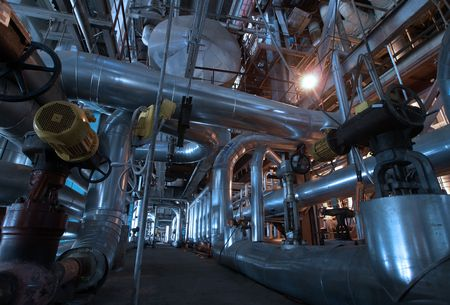 Pipes, tubes, machinery and steam turbine at a power plant Stock Photo - 6488063