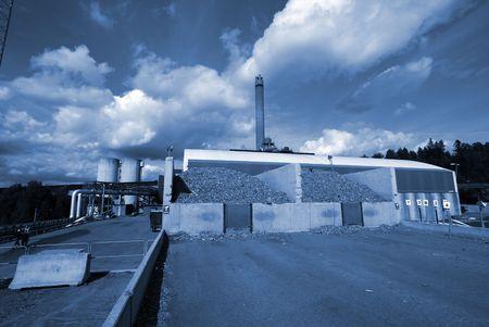 bio fuel power plant in blue tone             photo