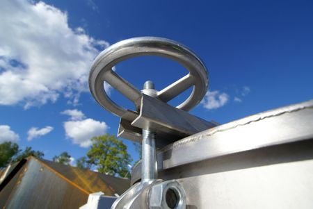 Industrial zone, Steel structures on blue sky                photo