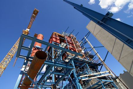 cranes and beams on construction of industrial factory Stock Photo - 7769580