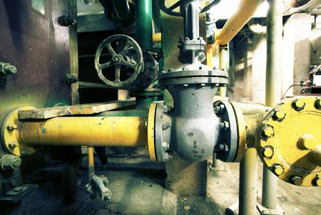 industrial complex: Industrial zone, Steel pipelines, valves and ladders