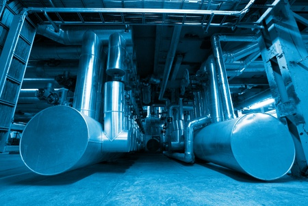 Industrial zone, Steel pipelines in blue tones                      photo