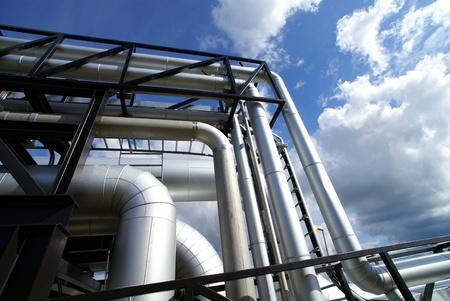 Industrial zone, Steel pipelines in blue tones     Stock Photo