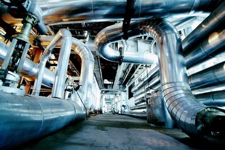 mineral oil: Industrial zone, Steel pipelines in blue tones
