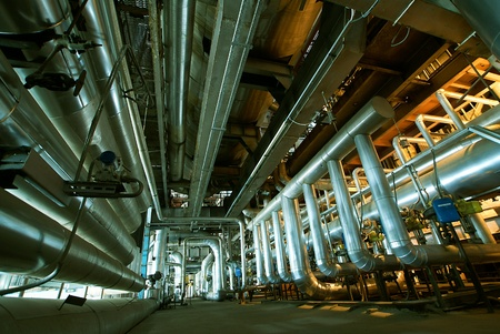 Industrial zone, Steel pipelines, valves and ladders                     Stock Photo - 9200625