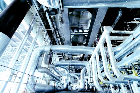 Industrial zone, Steel pipelines, valves and ladders           photo