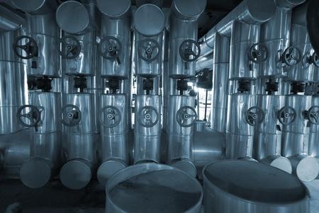Industrial zone, Steel pipelines in blue tones Stock Photo - 9626814