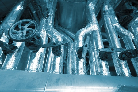 Industrial zone, Steel pipelines in blue tones Stock Photo - 9626819