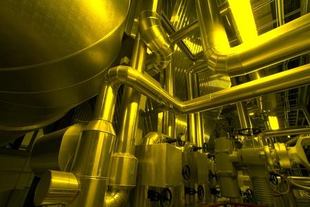 pipe line: Industrial zone, Steel pipelines in yellow tones