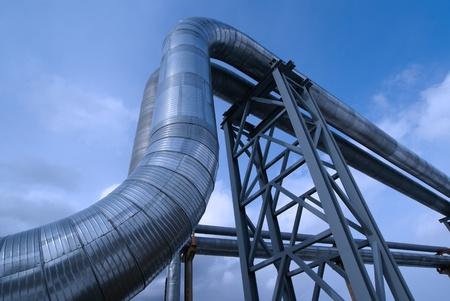Industrial zone, Steel pipelines in blue tones Stock Photo - 10707687