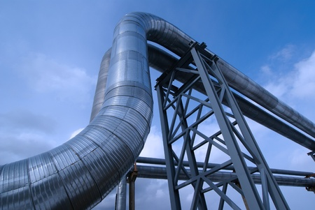 Industrial zone, Steel pipelines in blue tones Stock Photo - 10707687