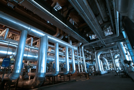 Industrial zone, Steel pipelines in blue tones   Stock Photo - 10707694