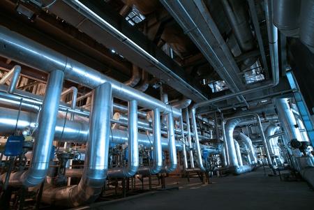 Industrial zone, Steel pipelines in blue tones   Stock Photo - 10707694