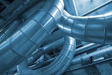 piping: Industrial zone, Steel pipelines in blue tones   Editorial