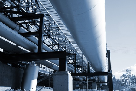 Industrial zone, Steel pipelines in blue tones Stock Photo - 10707691