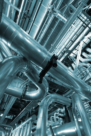 Industrial zone, Steel pipelines in blue tones   Stock Photo - 10707699