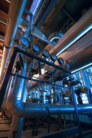 Industrial zone, Steel pipelines in blue tones   Stock Photo - 10707695