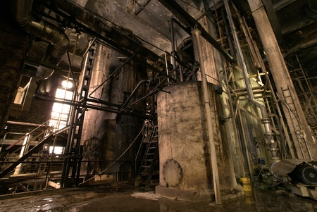 old creepy dark decaying dirty factory photo