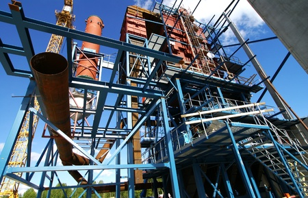 cranes and beams on construction of industrial factory Stock Photo - 14500552