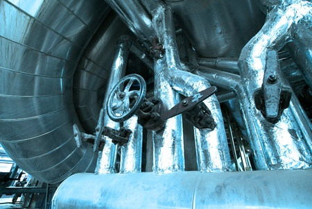 Equipment, cables and piping as found inside of  industrial power plant Stock Photo - 14571860