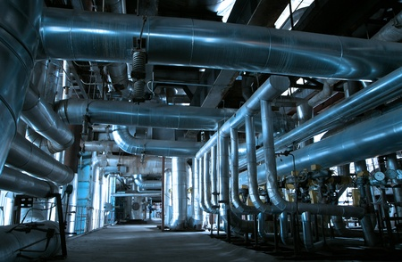 pipe line: Industrial zone, Steel pipelines and cables in blue tones
