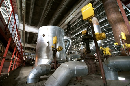 construction plant: Equipment, cables and piping as found inside of  industrial power plant