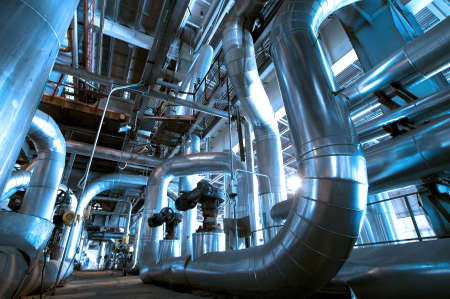 chemical engineering: Industrial zone, Steel pipelines and cables in blue tones