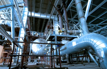 Industrial zone, Steel pipelines in blue tones   photo