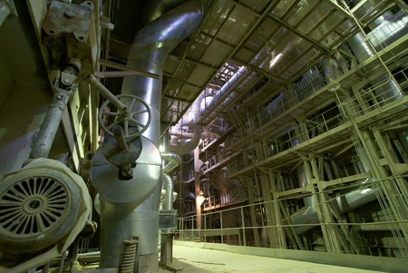 steam turbine: Industrial zone, Steel pipelines, valves and ladders                Stock Photo