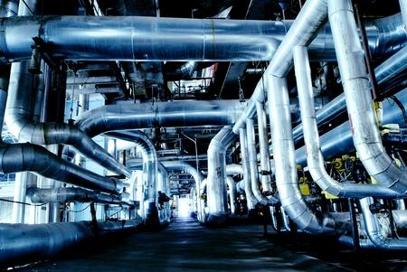 Industrial zone, Steel pipelines in blue tones Stock Photo - 15285704