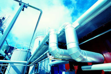 anaerobic: Industrial zone, Steel pipelines in blue tones                    Stock Photo