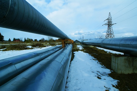 water power plant: Industrial zone, Steel pipelines and valves against blue sky                    Stock Photo