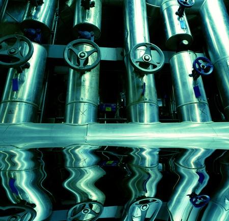 water power plant: Industrial zone, Steel pipelines  Stock Photo