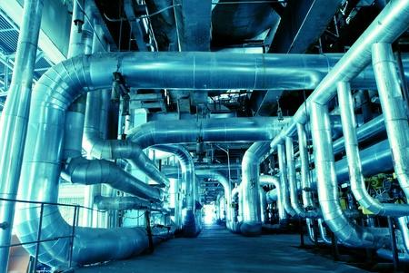 heat pump: Industrial zone, Steel pipelines in blue tones