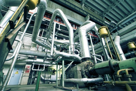pipe line: Equipment, cables and piping as found inside of a modern industrial power plant