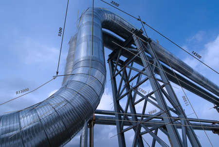shinereflection: Industrial zone, Steel pipelines in blue tones Stock Photo