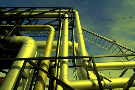 refinery engineer: Industrial zone, Steel pipelines and equipment
