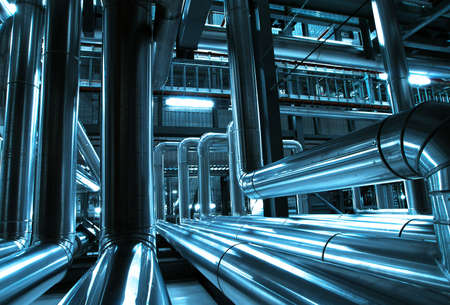 refinery engineer: Industrial zone, Steel pipelines and cables in blue tones