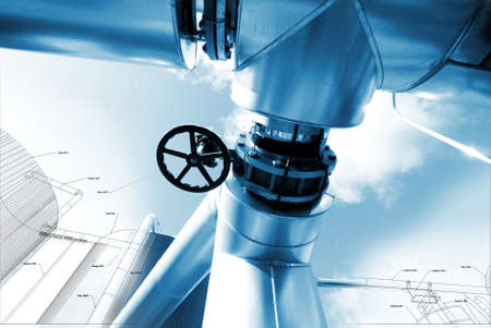 refinery engineer: Sketch of piping design mixed with industrial equipment Stock Photo