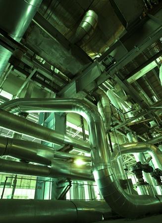 Industrial zone, Steel pipelines and equipment in green tones photo