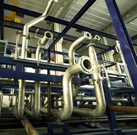 refinery engineer: Industrial zone, Steel pipelines and valves Stock Photo