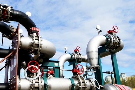 valves: Industrial zone, Steel pipelines and valves Stock Photo