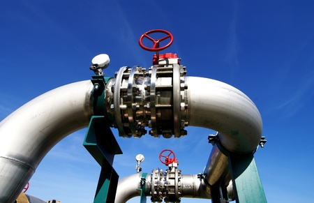 piping: Industrial zone, Steel pipelines and valves Stock Photo